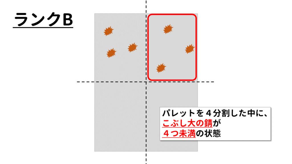 ランクB:4分割したパレットにこぶし大の錆が4つ未満