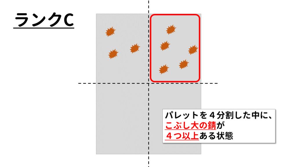 ランクC:4分割したパレットにこぶし大の錆が4つ以上